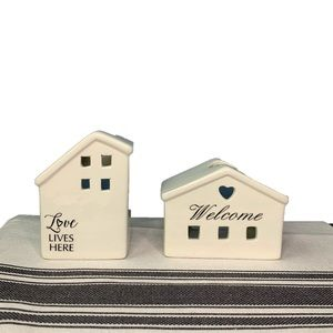 Ceramic Welcome & Love Lives Here Candle Holders